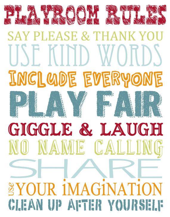 Printable Playroom Rules Wall Art by SimplyAnnouncing