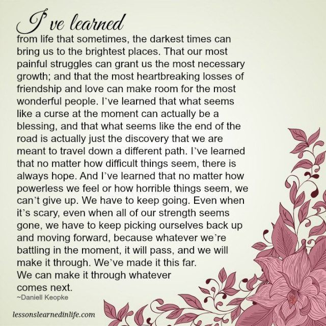 Lessons Learned in LifeWe've made it this far. - Lessons Learned in Life