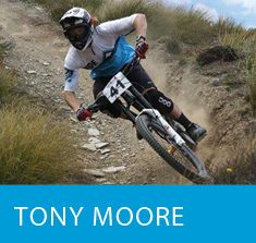 Tony Moore Outside Sports Mountain and Downhill Bike Athlete at Rude Rock, Coronet Peak, Queenstown NZ.