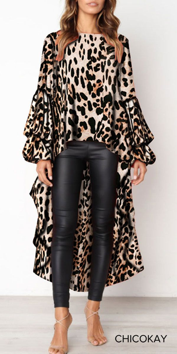 5f5979a1dd7ea8 Fashion Leopard Print Asymmetric Hem Lantern Sleeve Shirt. Fashion Leopard  Print Asymmetric Hem Lantern Sleeve Shirt Shirt Sleeves, Long Sleeve Shirts  ...