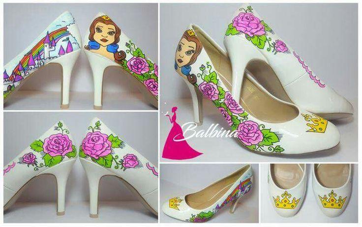 #princess #castle #colorful # balbina #bella #hand painted shoes # disney hand painted shoes #hand painted high heels #balbina #custom shoes #customized shoes
