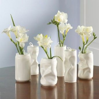 crinkled painted aluminum can vases ... cute for casual/outdoor garden/beach wedding or party
