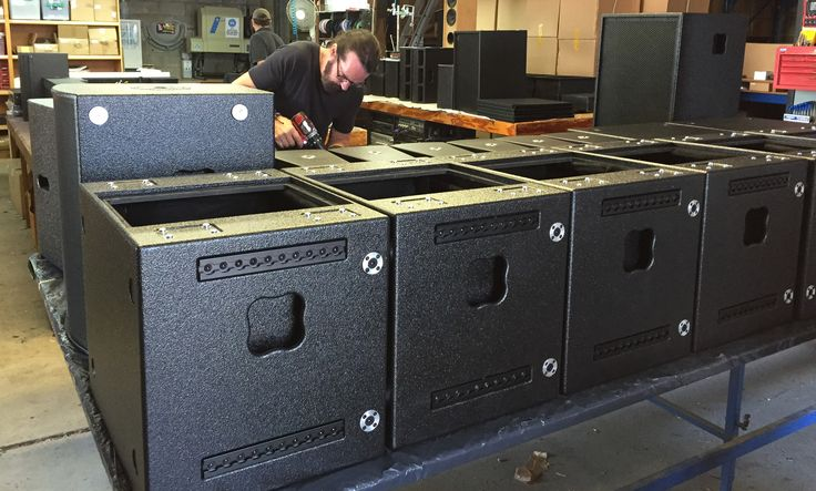 On the bench after being built and sprayed with Acousticoate,  various cabinets getting fitted out.AT products are protected as well by a 5 year warranty. #madeinaustralia #professionalsound www.atprofessional.com.au