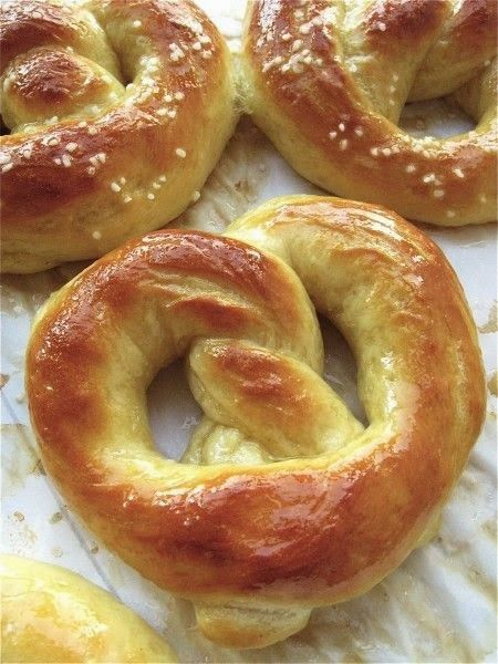 Hot Buttered Soft Pretzels - Pretzels are available crisp and hard from your grocery or, if you're lucky and in the right place, soft and chewy from street vendors. This recipe is for the soft, chewy kind. The melted butter brushed over the crust is a bonus street vendors don't offer