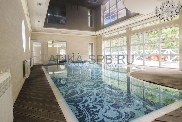 #Swimming #Pools Бетонный переливной частный бассейн в помещении отделка плиткой и мозаикой. спб