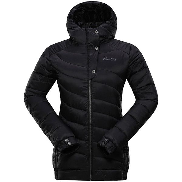 Alpine Pro Black Hooded Lilly 3 Puffer Coat ($80) ❤ liked on Polyvore featuring outerwear, coats, plus size, women's plus size coats, plus size puffer coat, lightweight coat, plus size hooded coat and hooded coat