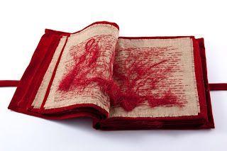 Maria Lai / #red #stitchery #book