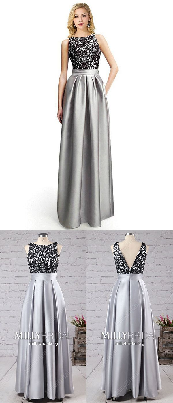 b1f353bcbc8e Long Prom Dresses Modest,Grey Formal Evening Dresses A-line,Lace Military  Ball Dresses Open Back,Satin Wedding Party Dresses Sleeveless #MillyBridal  ...