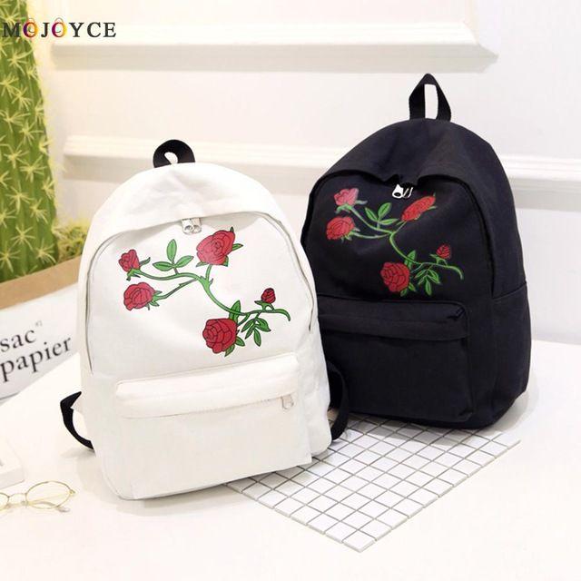 New Price $7.46, Buy 2017 Embroidery Rose Women Backpacks Fashion Canvas Lady Backpacks High Quality Girls Satchel Travel School Bag Mochila