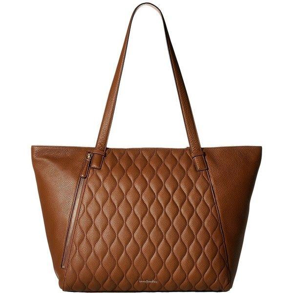 Vera Bradley Avery Tote (Cognac) Tote Handbags ($298) ❤ liked on Polyvore featuring bags, handbags, tote bags, vera bradley tote bags, white leather tote, zipper tote, leather tote handbags and quilted tote