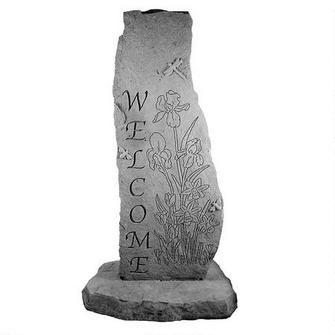 Garden Iris Cast Stone Welcome Obelisk Statue $175.00