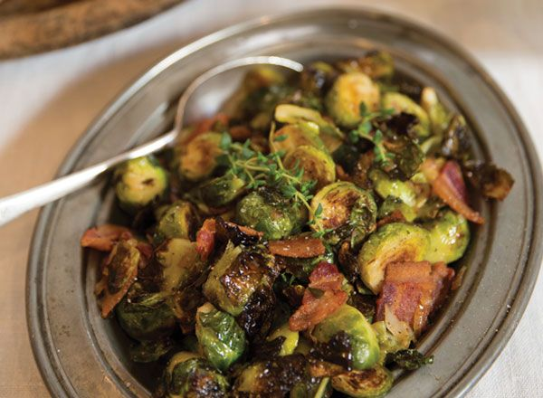 Roasted Brussels Sprouts with Bacon and Warm Cider Vinaigrette from Publix Aprons