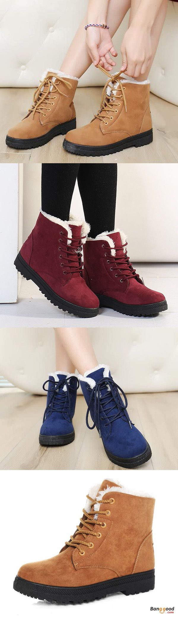 US$28.35 + Free shipping. US Size 5-12 Women Winter Keep Warm Flat Plush Snow Boots Ankle Short Boots.