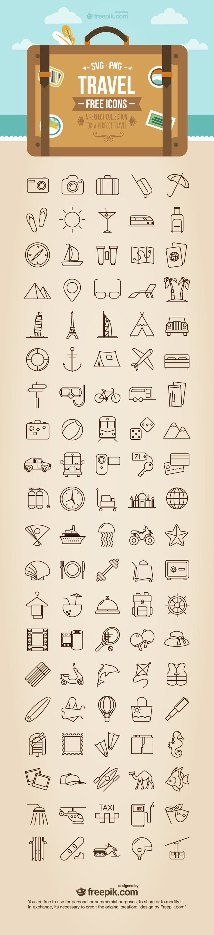 Free Travel Icons - SVG + PNG formats