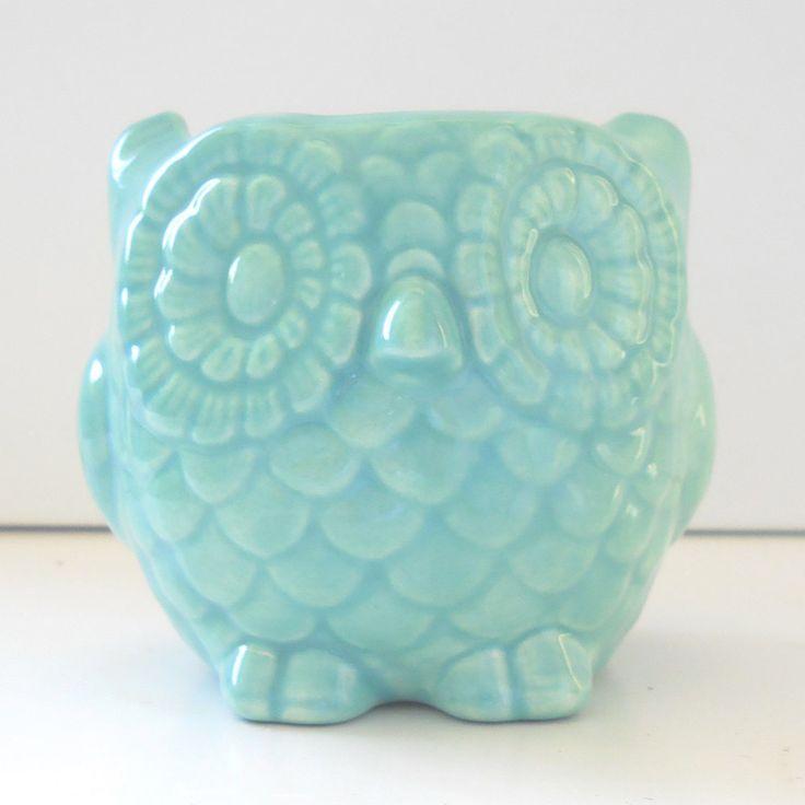 Owl Planter Ceramic Mini Owl Desk Planter Vintage Design In Aqua Blue  Teacher Gift Succulent Pot Or Sponge Holder