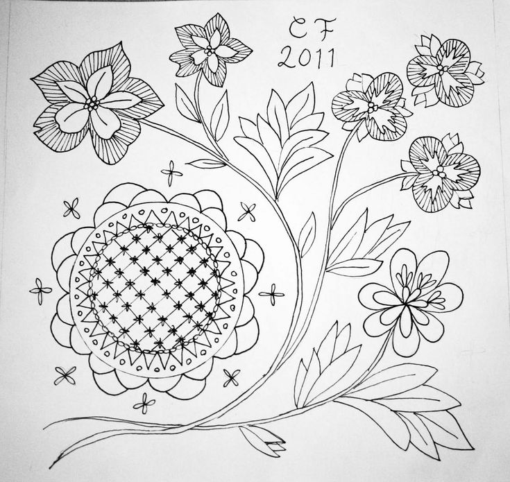 swedish wool embroidery - to be used as a coloring sheet