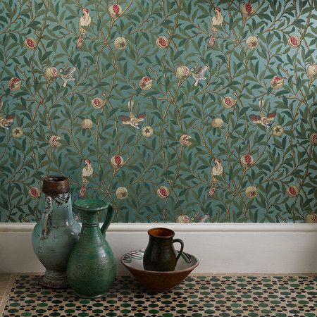 William Morris - Birds & Pomegranate Wallpaper - 212540
