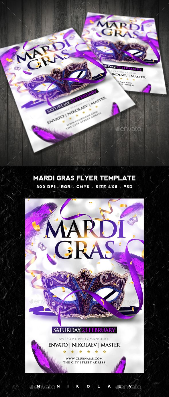 Mardi Gras Flyer Template PSD #design Download: http://graphicriver.net/item/mardi-gras-flyer/14520833?ref=ksioks