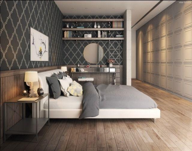 chambre adulte design avec papier peint gris à motifs géométriques, literie en blanc et gris, parquet et étagères murales en bois