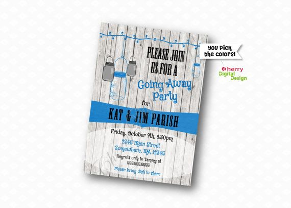 Rustic Mason Jar Going Away Party Invitations | Printed or Printable Farewell Invitation | Rustic blue black Party | Surprise Party