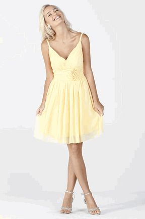 Yellow spaghetti straps Chiffon short prom dress with waist adorned with an elegant flower (Size XS to 3XL-4 Colors)#6542P