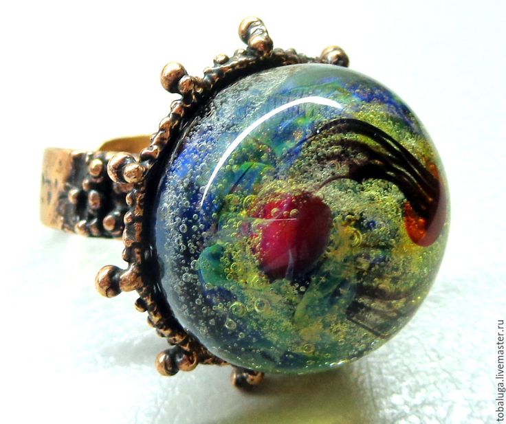 Купить Кольцо Пенная вечеринка лэмпворк - разноцветный, кольцо, кольцо ручной работы, кольцо лэмпворк