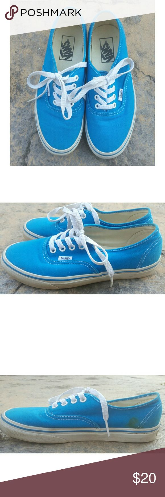 Rare Blue Vans Unique bright blue Vans. Wore them a handful of times but aquired a small stain on the inside of the right shoe one of the times I wore them.  Women's size 7 Mens size 5.5 Vans Shoes