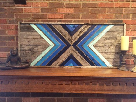 Shades Of Blue Reclaimed Wood Wall Art With by DustySquareDesigns