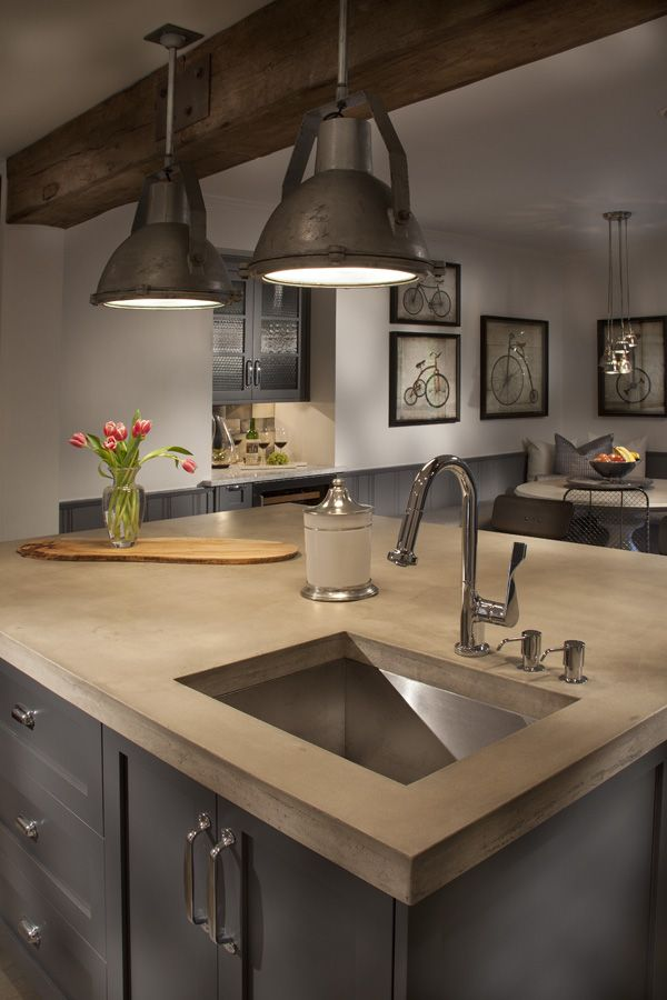 Long shot of our new kitchen with a great shot of our vintage lights. Reclaimed from the docks in Northern Massachusetts.