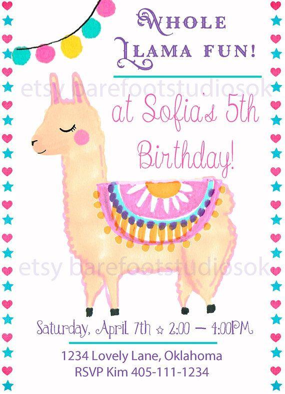 Whole Llama Fun Invitation Llama Birthday Invite Llama