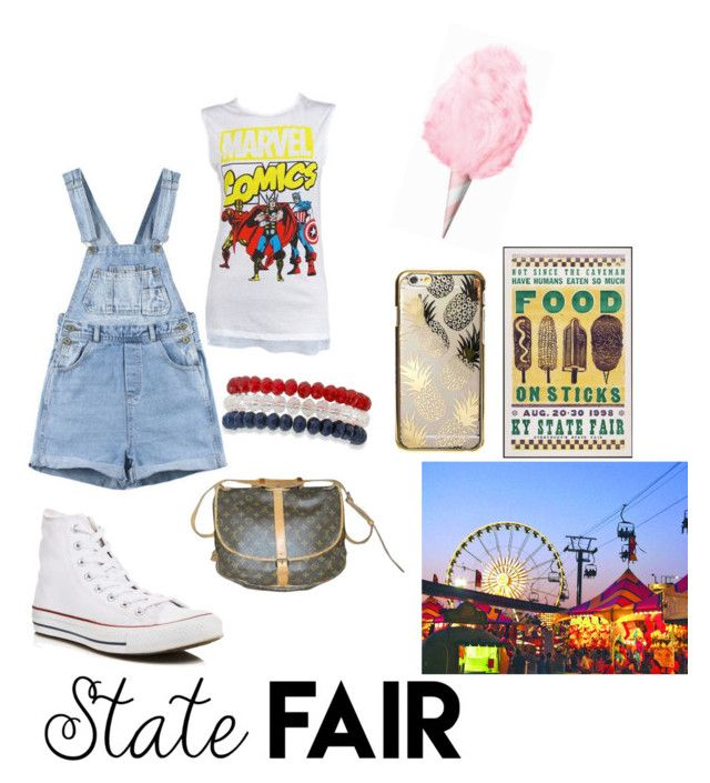 """""""State Fair outfit"""" by otakugurl77 ❤ liked on Polyvore featuring Marvel Comics, Converse, Louis Vuitton, Skinnydip, Kim Rogers, statefair and summerdate"""