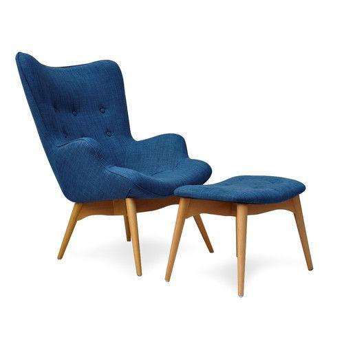 International Design USA Blue Huggy Mid Century Chair and Ottoman   Wayfair