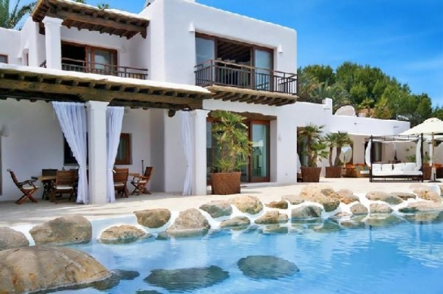 Luxury seafront villa for sale in San Carlos, Ibiza, Spain.
