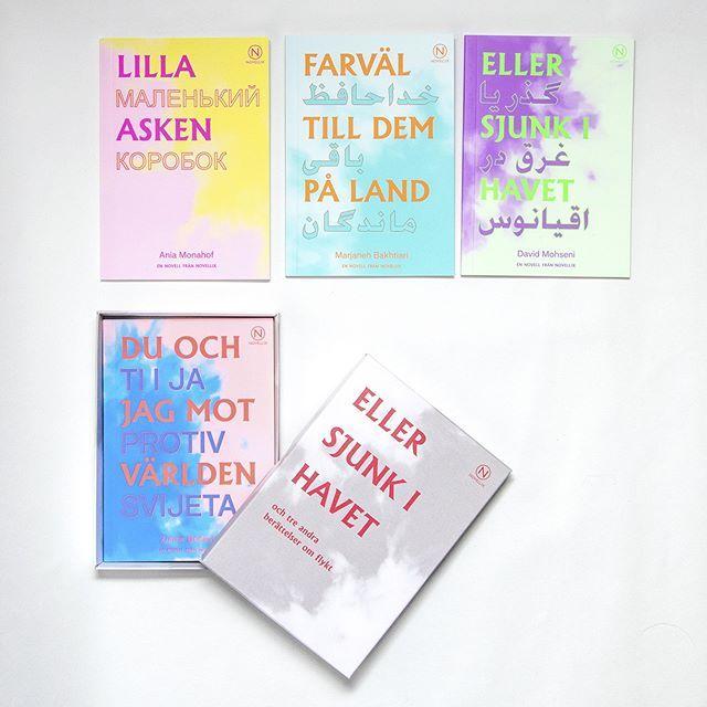Höstens viktigaste böcker i formgivning av #studioparastobackman⚡️⚡️⚡️köp asken i vår butik, länk i bio#flyktnovellen #novellix