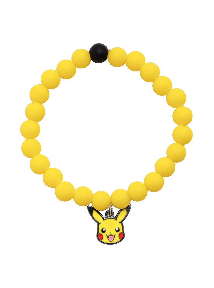 """<div>Wear your favorite <i>Pokemon </i>around your wrist with this adorable yellow beaded bracelet featuring a Pikachu charm!</div><div><ul><li style=""""list-style-position: inside !important; list-style-type: disc !important"""">Imported</li></ul></div>"""