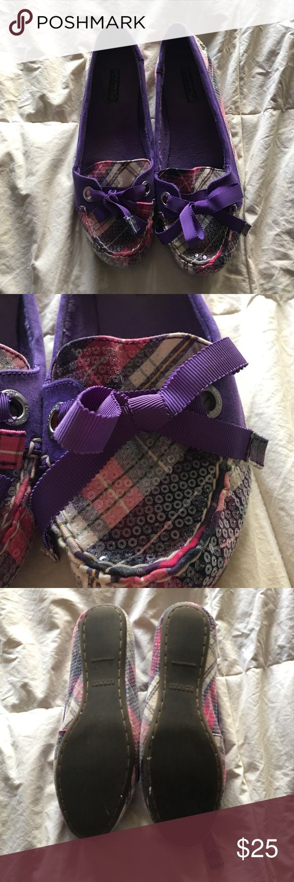 """Sequin Sperry """"Slippers"""" - Size 9 Sperry """"slippers"""" in size 9. Purple, white and pink plaid pattern covered in sequins. Soft purple lining. Tread is fairly worn. Box included! Always willing to negotiate price so make an offer! Sperry Top-Sider Shoes Flats & Loafers"""