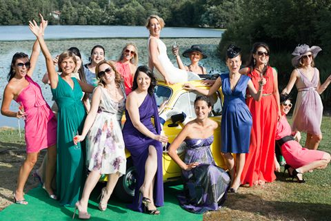 engage lots of female guests in being bright and bold rainbow coloured bridesmaids © M Photography via www.frenchweddingstyle.com #wedding #france