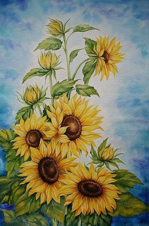 """Купить Картина """"Подсолнухи"""" акварель - подсолнухи, желтые цветы, картина с подсолнухами, картина с цветами"""