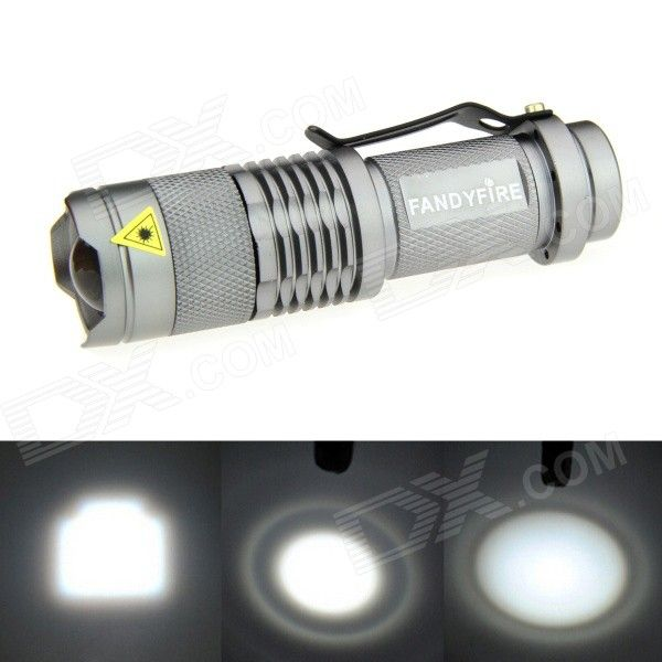 FANDYFIRE XP-E Q5 LED 400lm 3-Mode Zooming Bright White Light Flashlight - Silver (1 x AA / 14500). Color Silver Quantity 1 Piece Material Aluminum alloy Emitter Brand Others,N/A LED Type XP-E Emitter BIN Q5 Color BIN Cool White Number of Emitters 1 Working Voltage 1.2~3.7 V Power Supply 1 x 14500 / AA battery (not included) Current 1.8 A Theoretical Lumens 500 lumens Actual Lumens 400~500 lumens Runtime N/A Hour Number of Modes 3 Mode Arrangement Hi,Low,Fast Strobe Mode Memory No Switch…