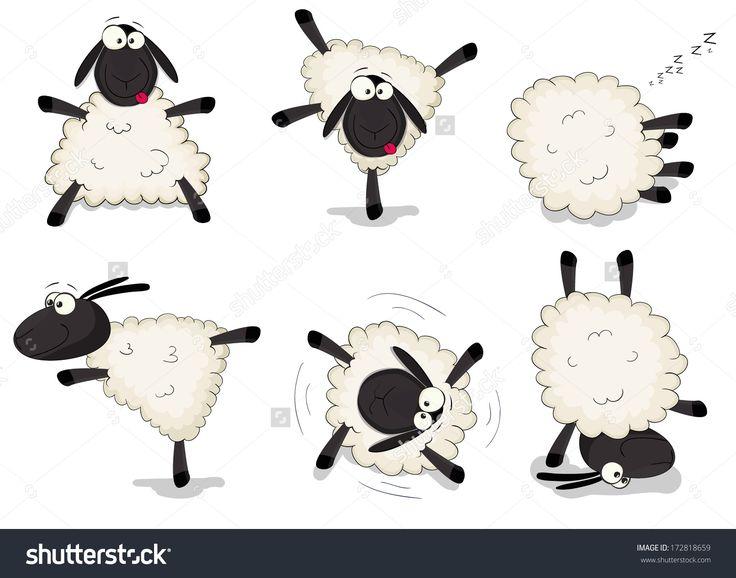 Nice set of vector cartoon sheep
