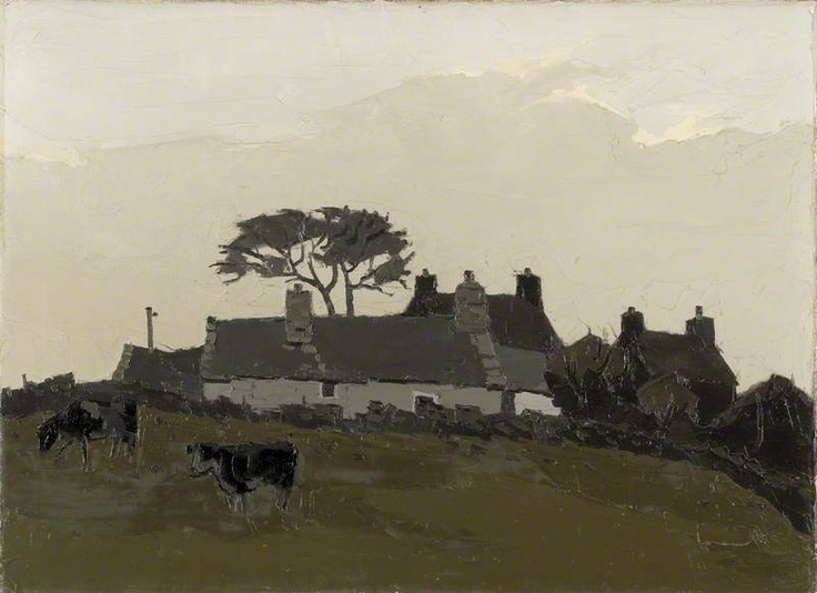 Sir Kyffin Williams (Welsh) Anglesey Cottages with Cattle