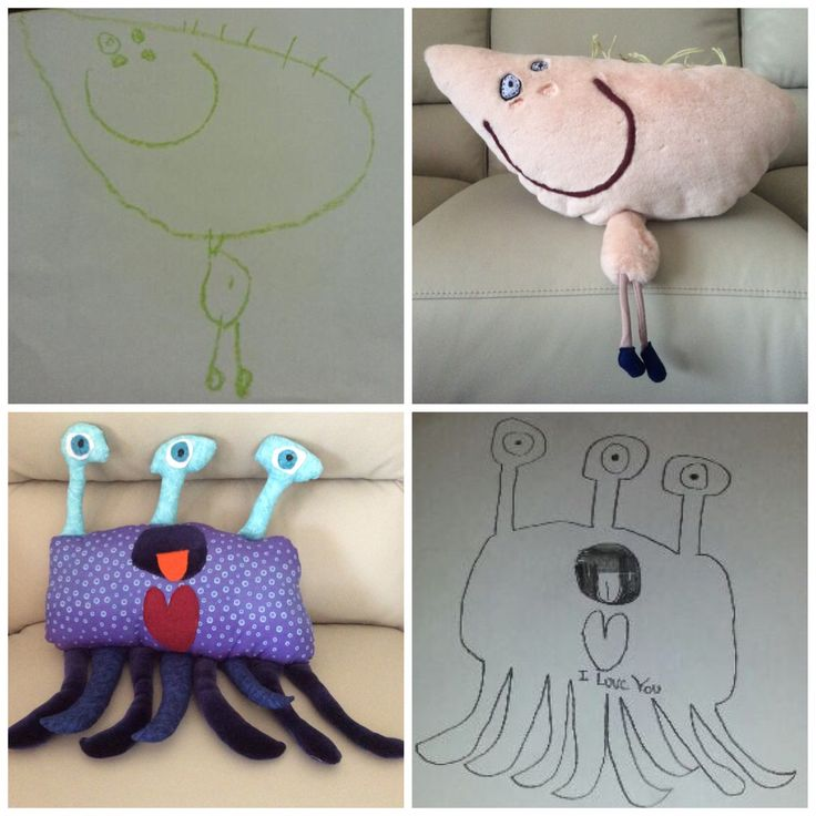 Personalised Softies made from children's own drawings.