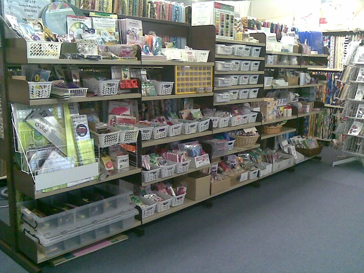 The Notions Shelves. All organised into sections for easy / fast location of items. Bay 1 designing and cutting, bay 2 pins & needles, bay 3 threads, bay 4 quilting, bay 5 everything else!