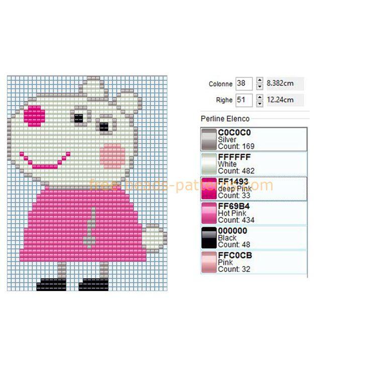 Suzy Sheep Peppa Pig pleine chiffre personnage de dessin animé libre motif de perles Perler téléchargement - perles Perler libres modèles fusibles Perles Hama