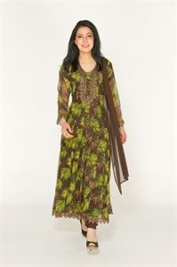 Show details for Brown and Lime Green Printed Georgette Frock