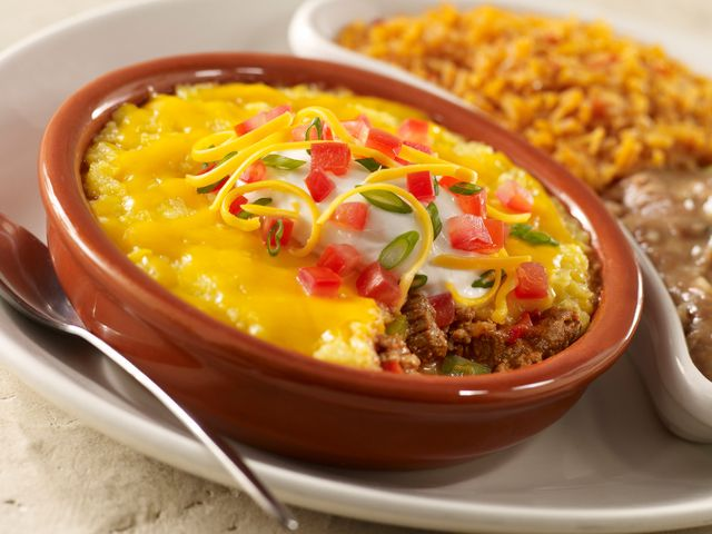 A Mexican beef pie with ground beef and cornmeal, along with vegetables. This is a tasty one dish meal to serve with a tossed salad.