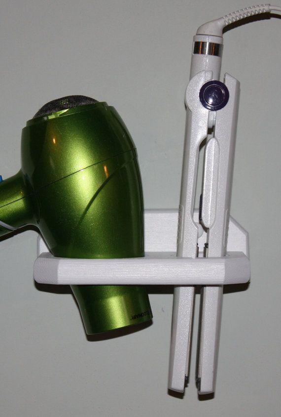 Salle de bains organisateur cheveux sèche-cheveux lisseur fer plat brosse titulaire bain Salon stockage 2 trou tablette USA DI-E sur Etsy, 12,60€