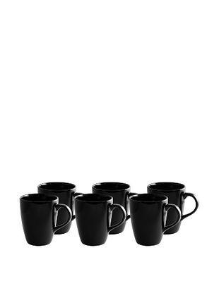 10 Strawberry Street Set of (6) 12-Oz. Black Rim Tall Barrel Mugs