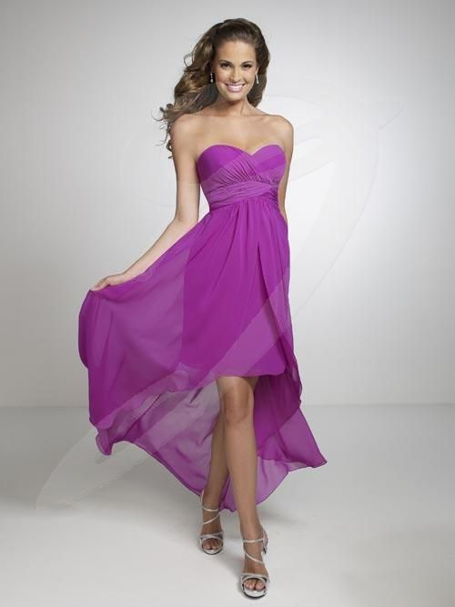 Balletts Bridal - 19035 - Bridesmaids by Jacquelin Bridals Canada - This bridesmaid dress features a strapless sweetheart neckline, pleated cummerbund short sheath skirt with long A-line overlay.
