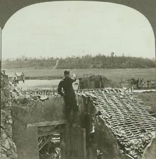 """WWI; """"Looking from Belleau Village across the Valley to Belleau Wood"""" - Stereoview"""